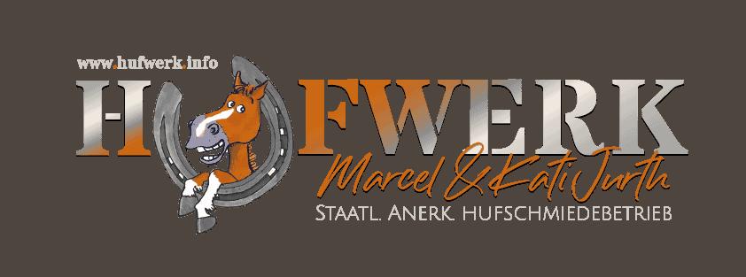 HUFWERK Logo staatl. anerkannter Hufschmiedebetrieb Kati & Marcel Jurth